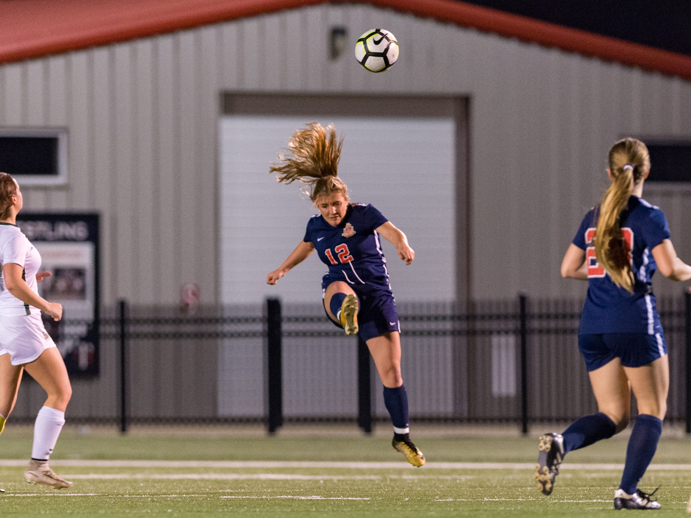 Morgan Brasseaux header as Teurlings Catholic girls soccer takes down Holy Savior Menard in the quarterfinals of the LHSAA soccer playoffs. Monday, Feb. 11, 2019.