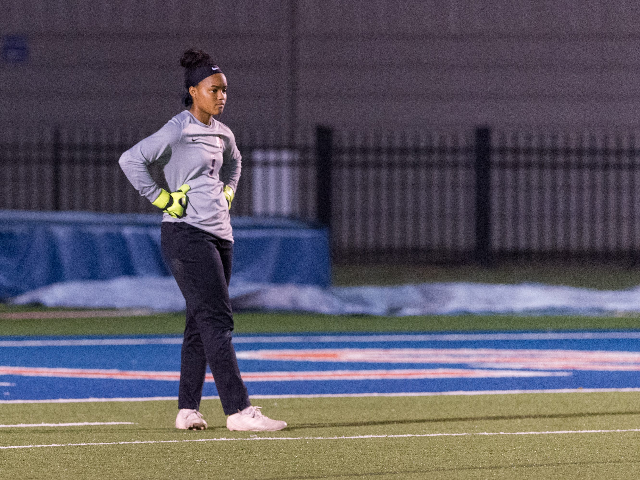 Keeper Lauren Starwood as Teurlings Catholic girls soccer takes down Holy Savior Menard in the quarterfinals of the LHSAA soccer playoffs. Monday, Feb. 11, 2019.