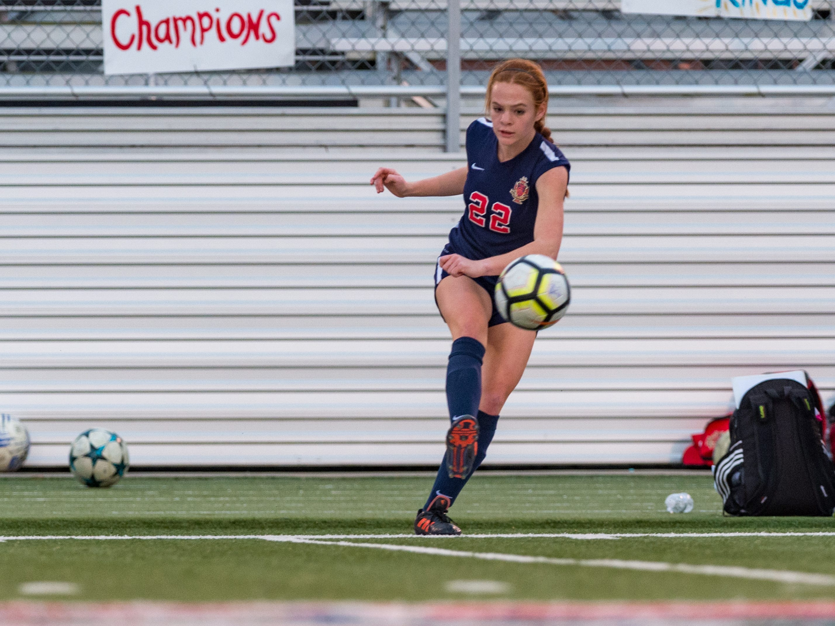 Aimee Fontenot passes the ball as Teurlings Catholic girls soccer takes down Holy Savior Menard in the quarterfinals of the LHSAA soccer playoffs. Monday, Feb. 11, 2019.