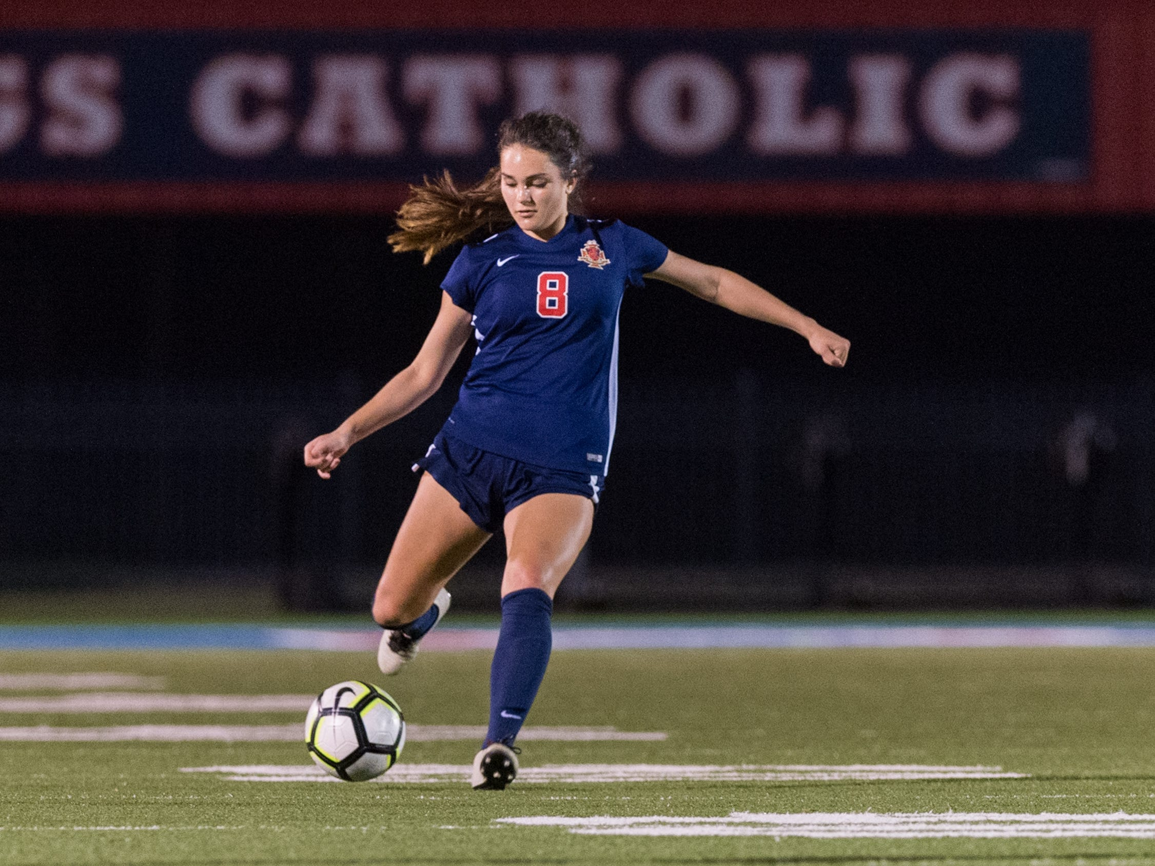 Kaitlyn Poirrier drives the ball as Teurlings Catholic girls soccer takes down Holy Savior Menard in the quarterfinals of the LHSAA soccer playoffs. Monday, Feb. 11, 2019.