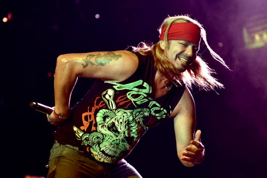 Bret Michaels of Poison performs during the Nothin' But a Good Time Tour at the Hollywood Casino Amphitheatre in Tinley Park, Illinois, in 2018.