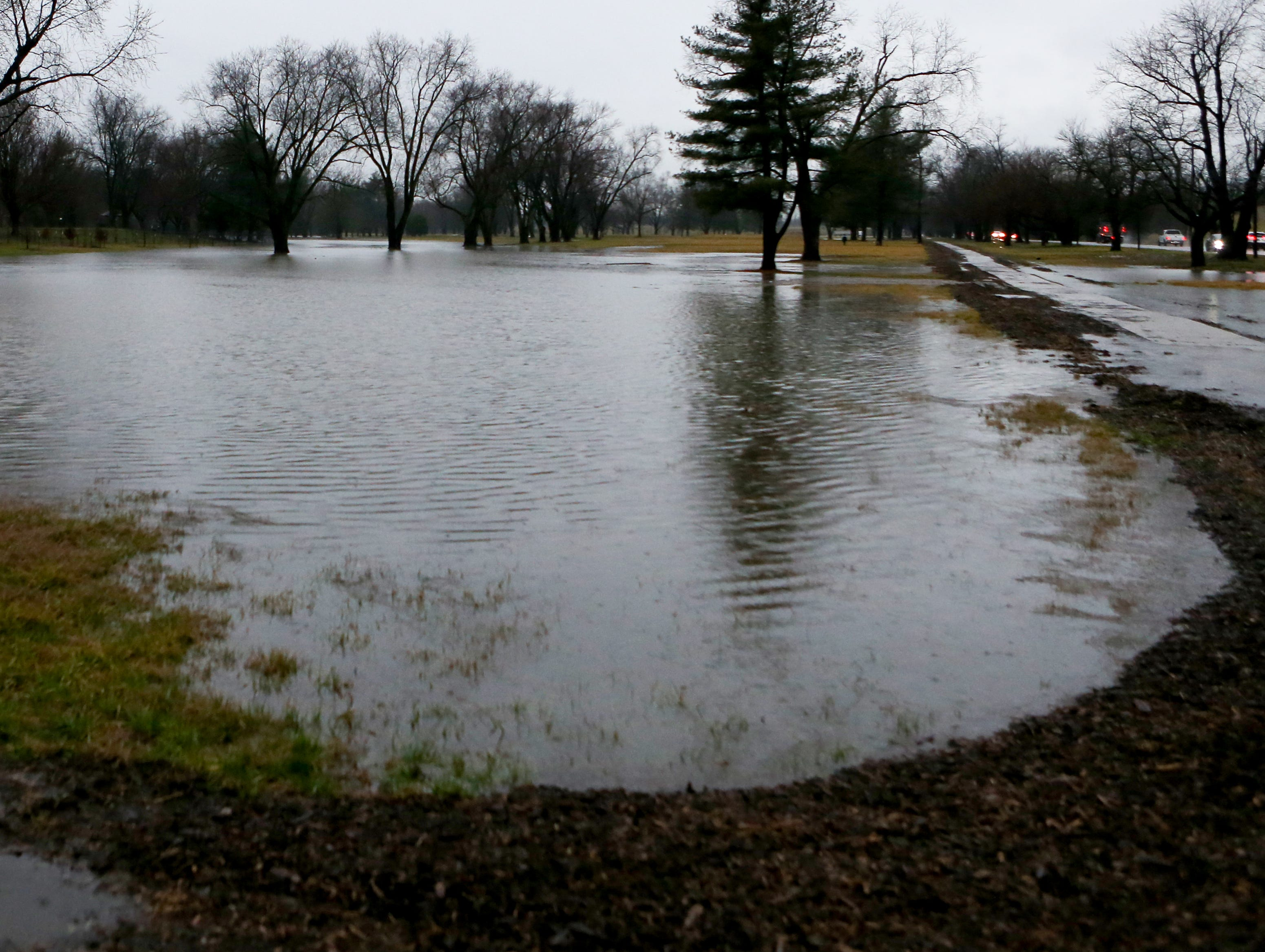 Champion's Park is flooded in areas Tuesday morning. Feb. 12, 2019