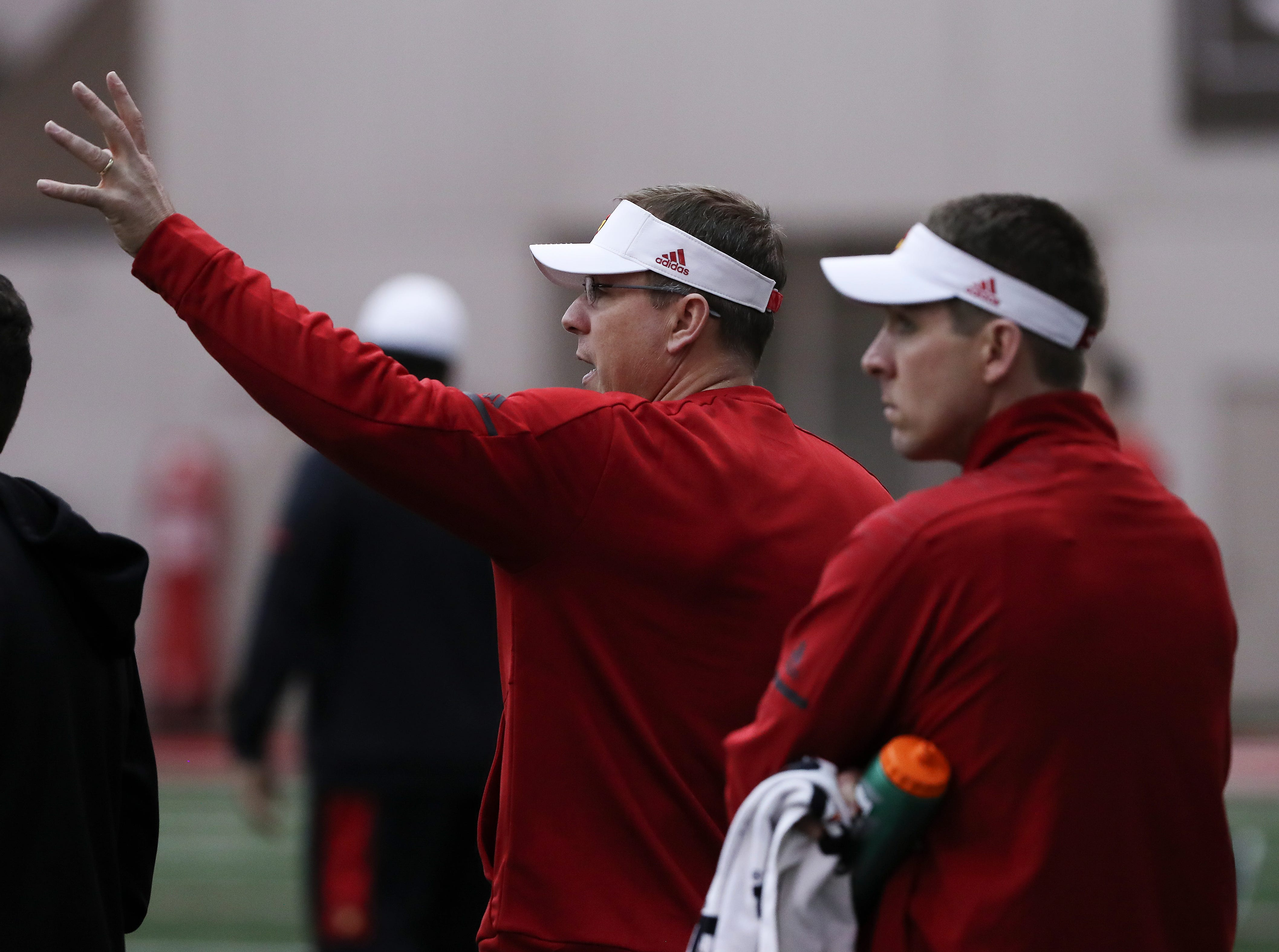 U of L head coach Scott Satterfield conducted practice at the Trager Center.