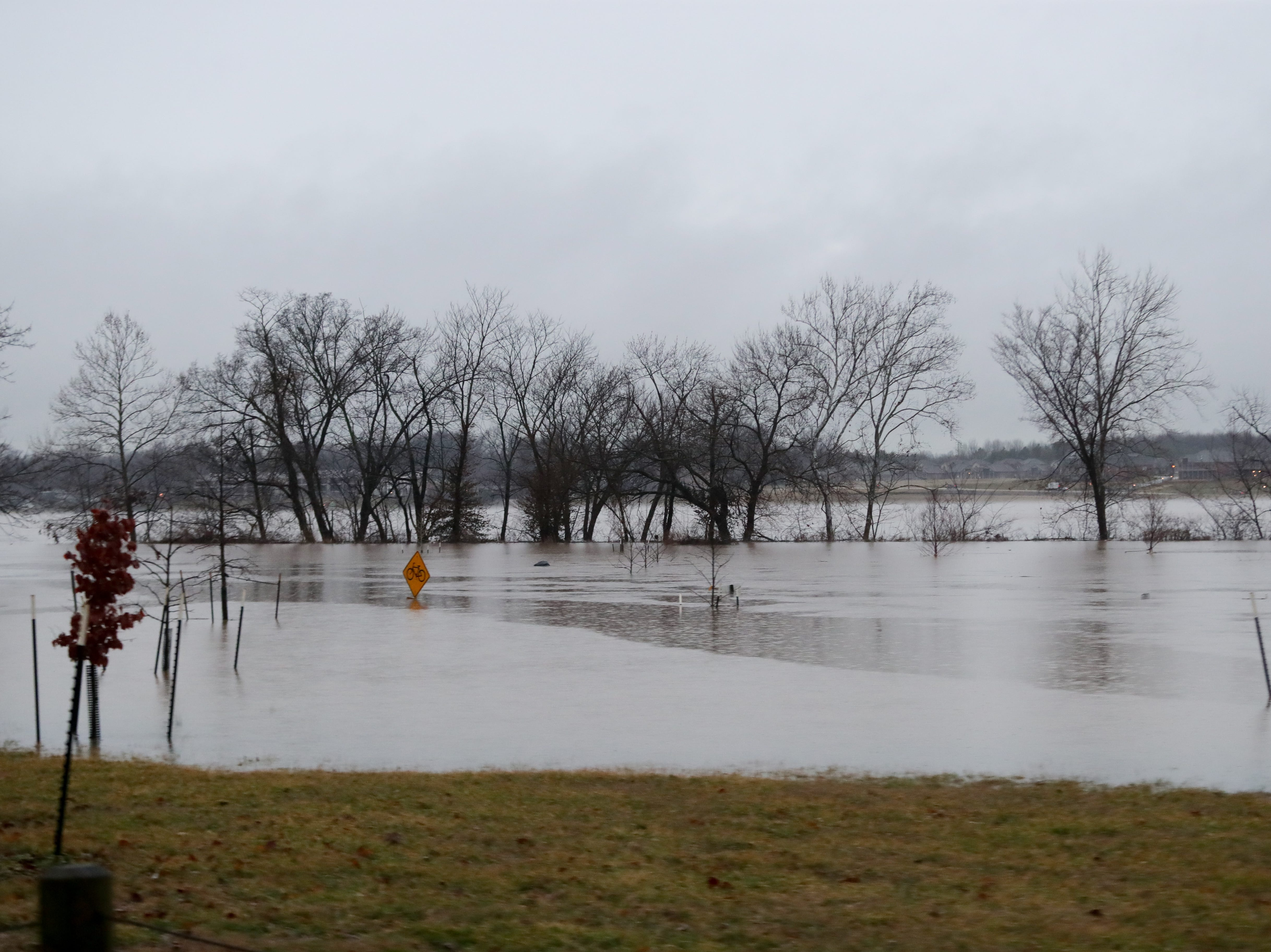 Cox Park is flooded in areas Tuesday morning. Feb. 12, 2019