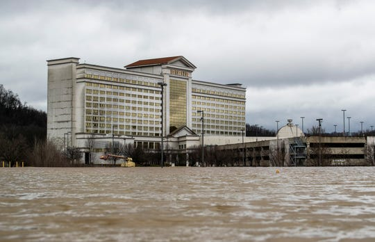 The entrance to the Horseshoe Casino is blocked by water Tuesday afternoon. Feb. 12, 2019