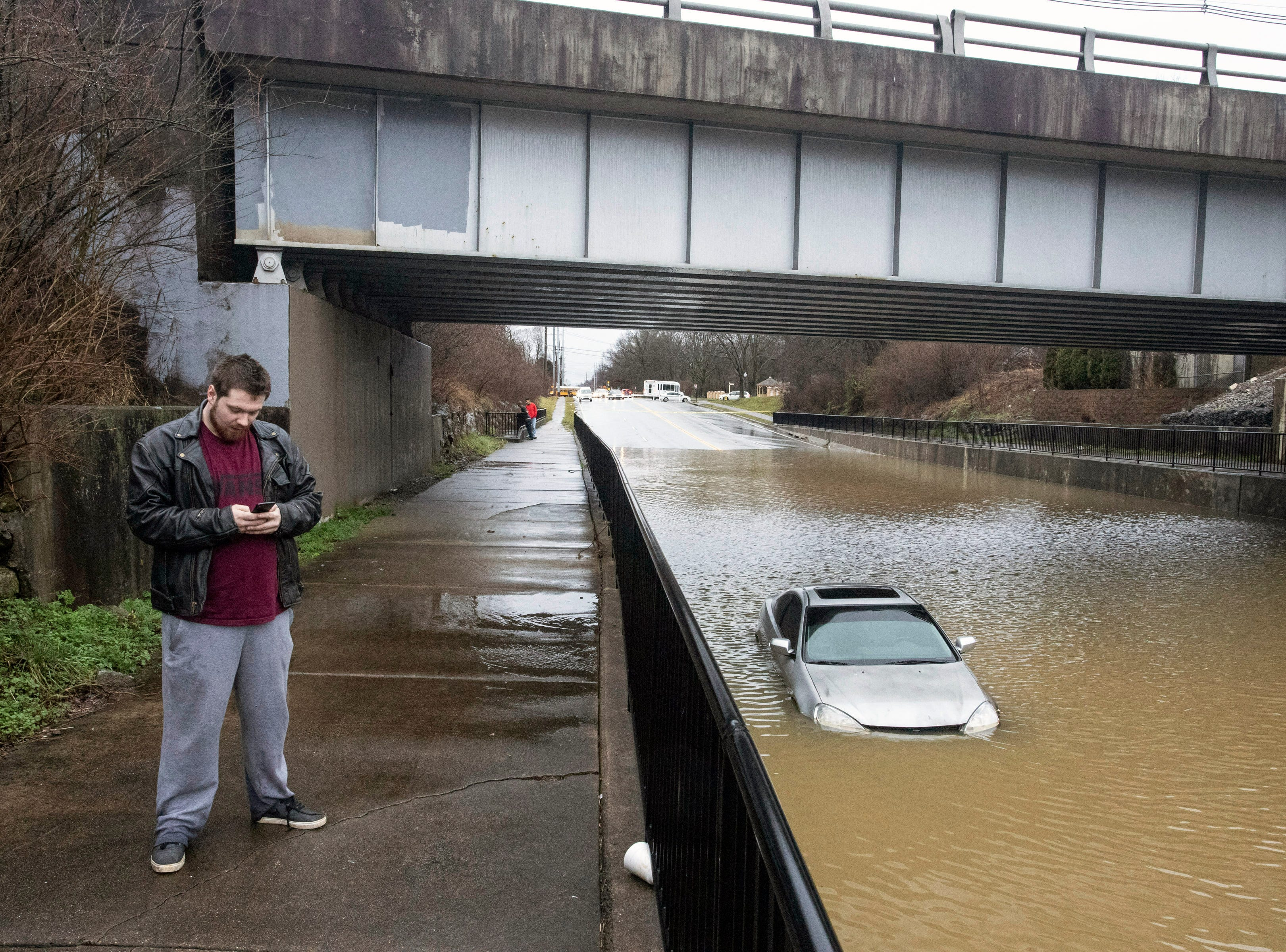 Andrew Chamberlain faced a nightmare situation on Tuesday morning as his vehicle was overcome by rising flood waters near the intersection of Breckenridge Lane and Six Mile Lane. 2/12/19