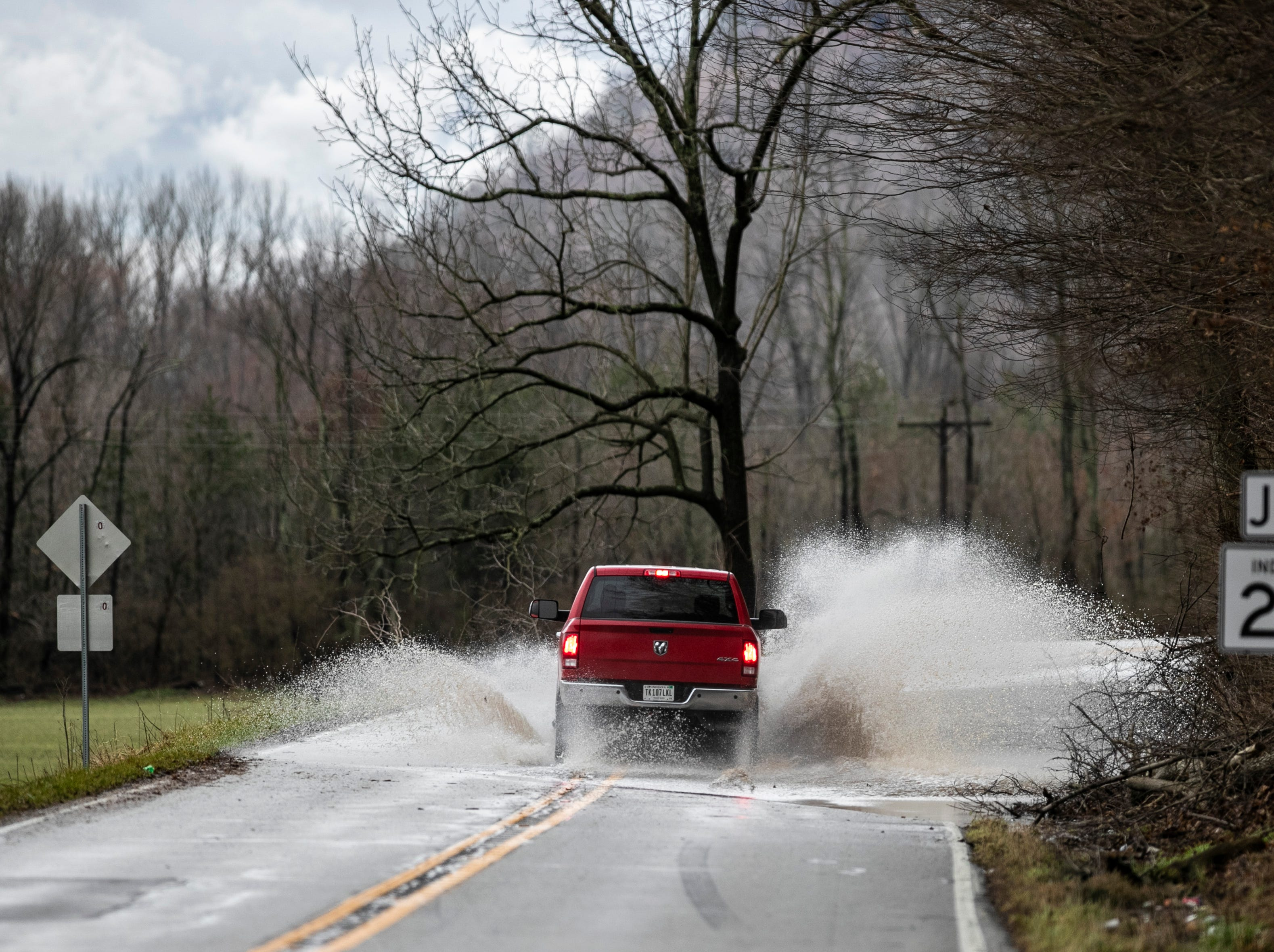Drivers faced a flooded section of Highway 111 near the 211 junction Tuesday afternoon. Part of Highway 111 was closed due to rising water at various spots in Harrison County. Feb. 12, 2019
