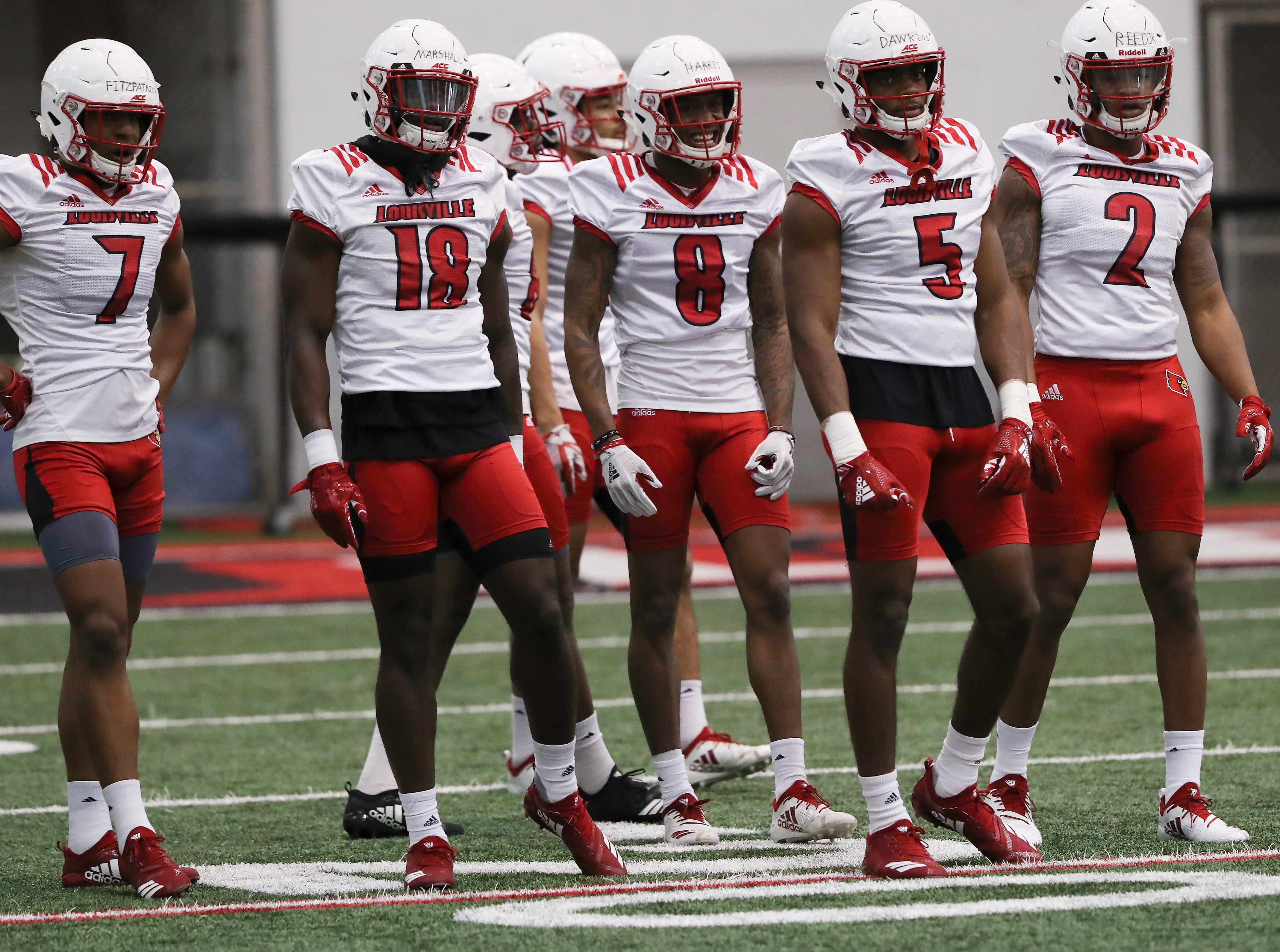 U of L receivers during practice at the Trager Center.