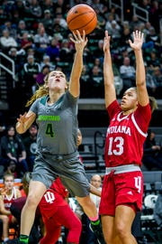 Michigan State's Taryn McCutcheon, left, scores as Indiana's Jaelynn Penn defends during the second quarter on Monday, Feb. 11, 2019, at the Breslin Center in East Lansing.