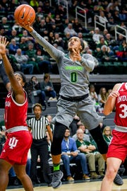 Michigan State's Shay Colley scores during the third quarter on Monday, Feb. 11, 2019, at the Breslin Center in East Lansing.