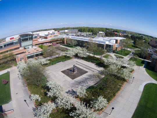 A view of Saginaw Valley State University's campus taken from a drone.