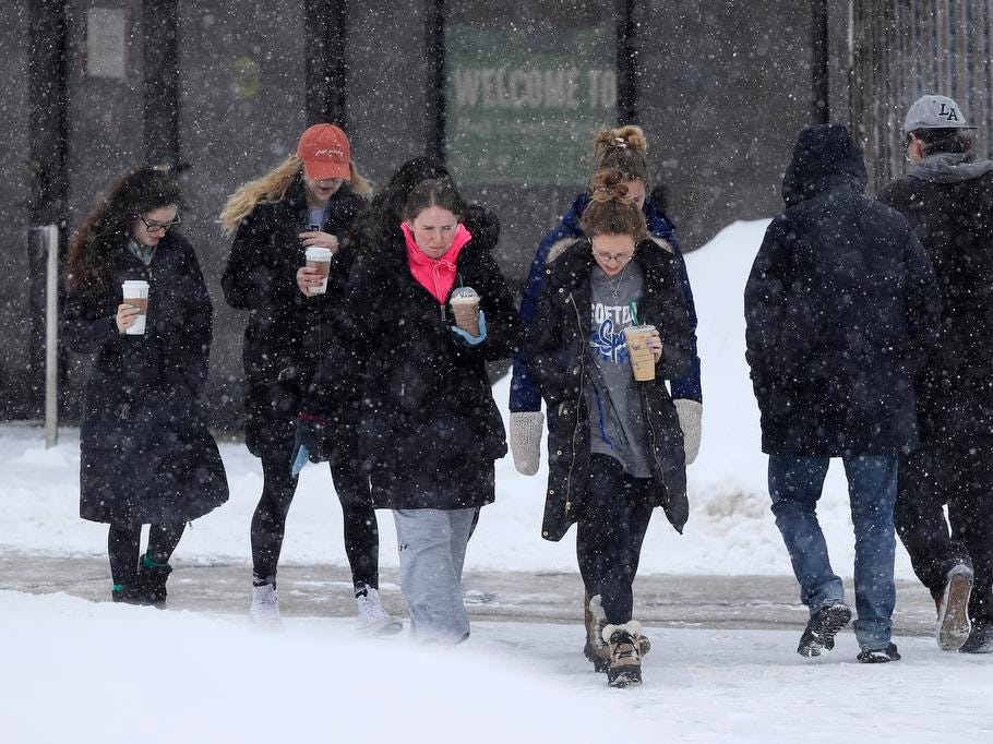 Students walk across the UW-Green Bay campus on Tuesday, February 12, 2019 in Green Bay, Wis.