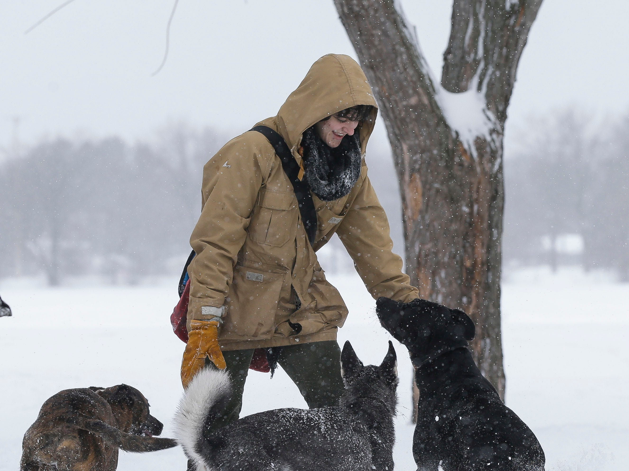 Stephanie Bau plays with her dogs on Tuesday, February 12, 2019, at Pioneer Park in Stevens Point, Wis. A winter storm is expected to drop 8-11 inches of snow in central Wisconsin before clearing Tuesday night.