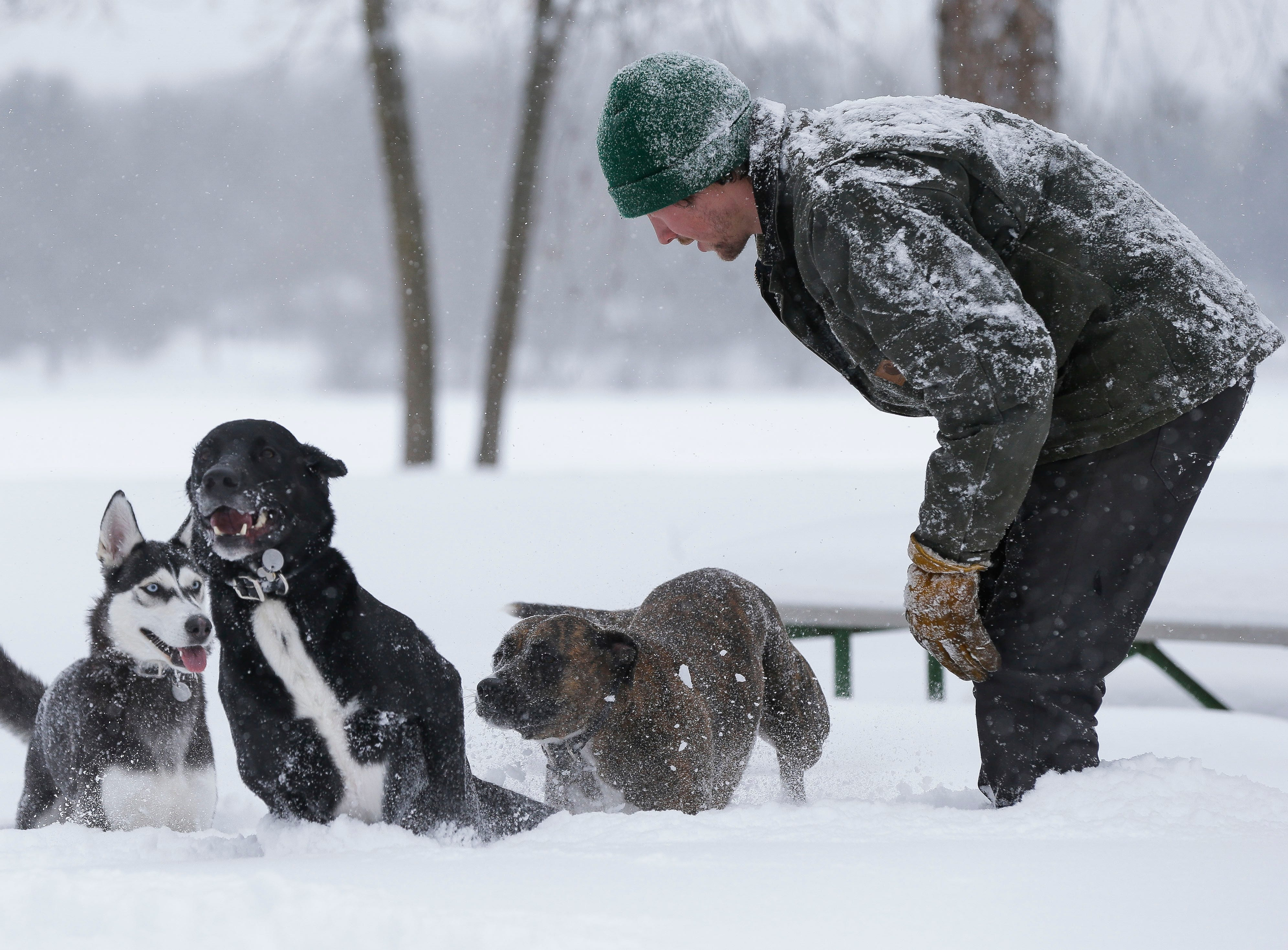 Kameron Krause plays with his dogs on Tuesday, February 12, 2019, at Pioneer Park in Stevens Point, Wis. A winter storm is expected to drop 8-11 inches of snow in central Wisconsin before clearing Tuesday night.
