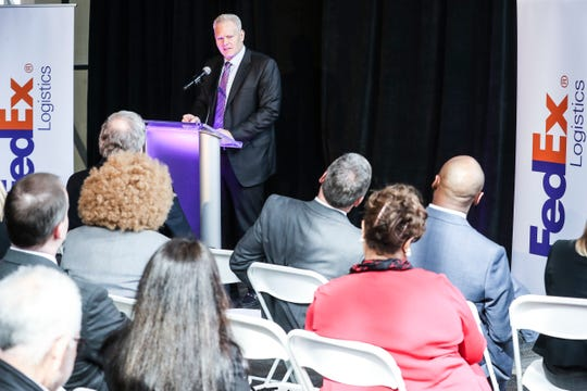 CEO Richard Smith speaks during the announcement Feb. 12, 2019, that FedEx Logistics is relocating to the Gibson Guitar building.