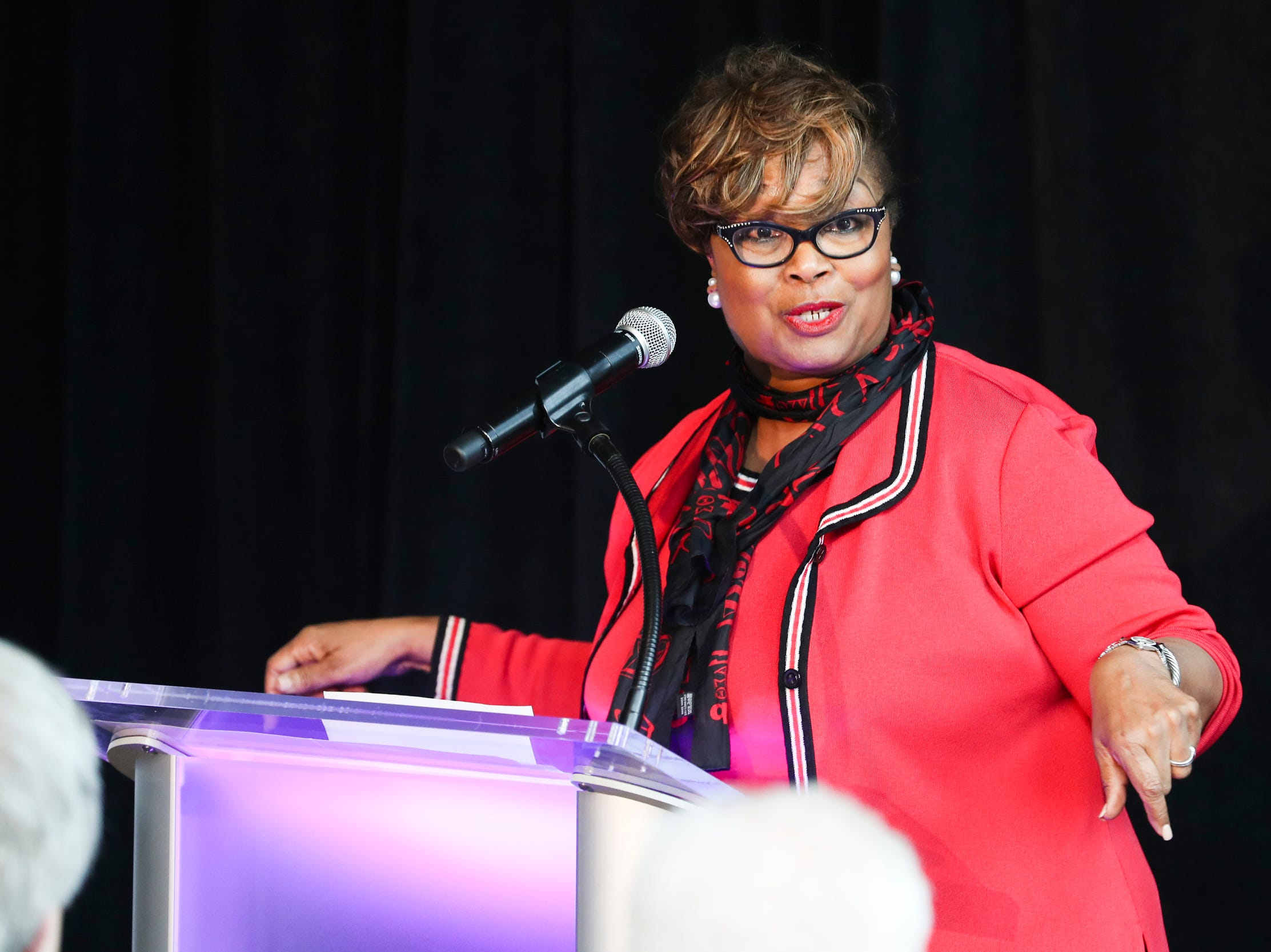 February 12, 2019 - Beverly Robertson, Greater Memphis Chamber president and CEO, speaks during the announcement that FedEx Logistics is relocating to the Gibson Guitar Building. Gov. Bill Lee and local officials made the announcement Tuesday at the former guitar factory off Beale Street. This is Lee's first economic development announcement since taking office.