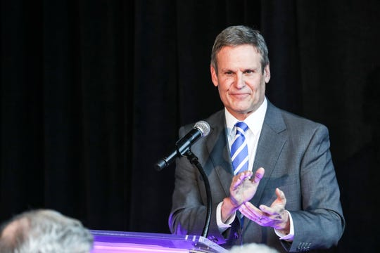 February 12, 2019 - Gov. Bill Lee speaks during the announcement that FedEx Logistics is relocating to the Gibson Guitar Building. Gov. Bill Lee and local officials made the announcement Tuesday at the former guitar factory off Beale Street. This is Lee's first economic development announcement since taking office.