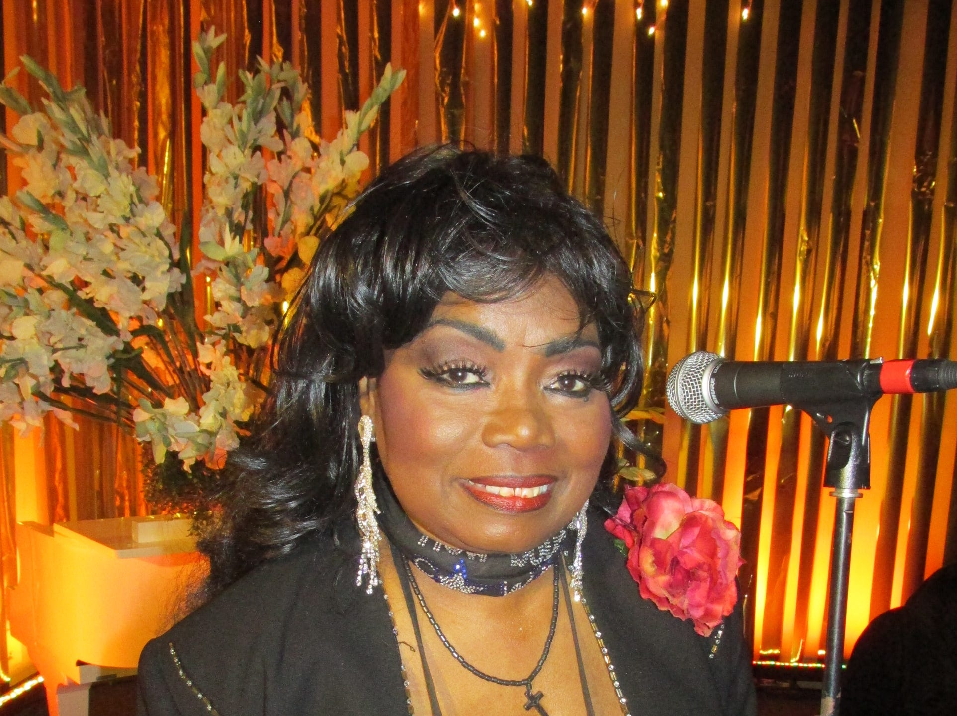 "March 12, 2014 - Ruby Wilson, the ""Queen of Beale Street,"" entertained  at the American Athletic Conference Luncheon at Gibson Guitar Factory."