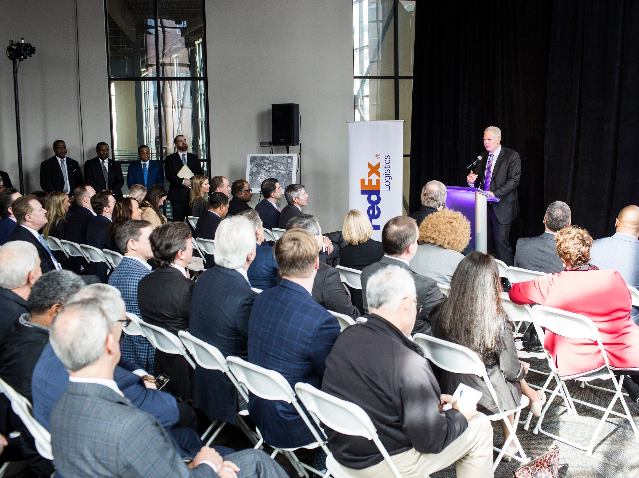 February 12, 2019 - FedEx Logistics CEO Richard Smith speaks during the announcement that FedEx Logistics is relocating to the Gibson Guitar Building. Gov. Bill Lee and local officials made the announcement Tuesday at the former guitar factory off Beale Street. This is Lee's first economic development announcement since taking office.