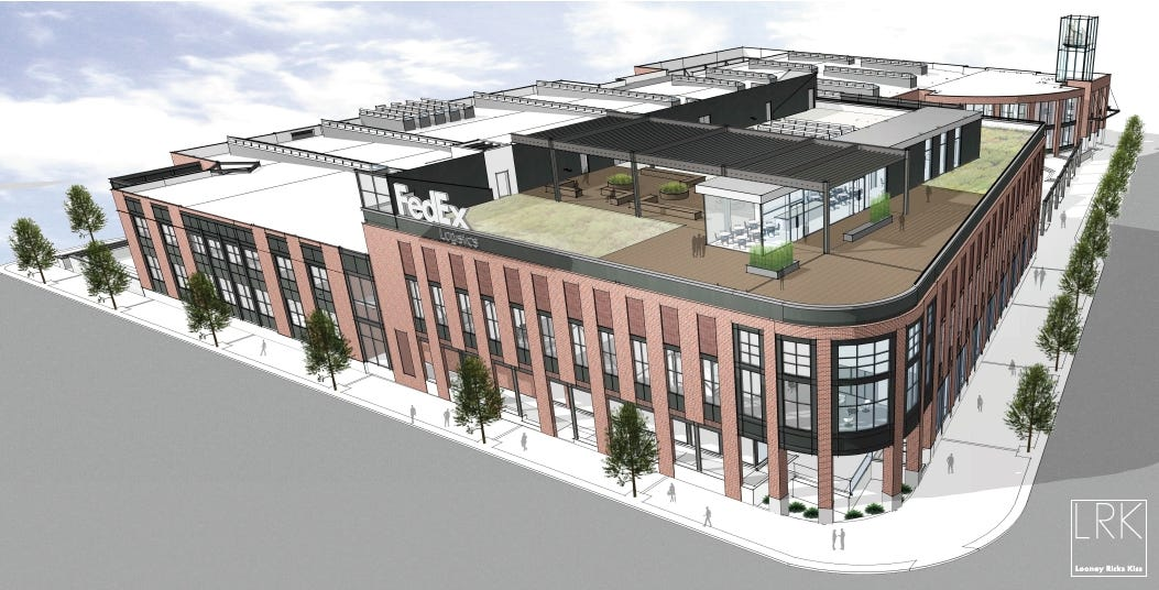 Rendering of the new FedEx Logistics global headquarters that will be located at the former Gibson Guitar building in Downtown Memphis.