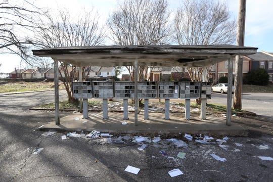 Mail is scattered around broken mailboxes at the Fox Hollow Townhome where owners and management spent the afternoon in Shelby County's environmental court addressing the blight and trash removal issues at the Fox Meadows community on Tuesday, Feb. 12, 2019.