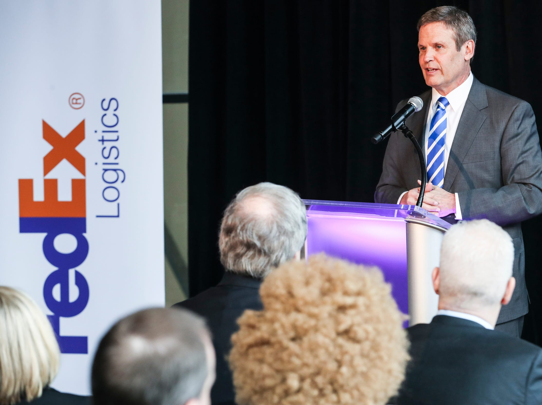 Gov. Bill Lee speaks during the announcement that FedEx Logistics is relocating to the Gibson Guitar Building Feb. 12, 2019. Gov. Bill Lee and local officials made the announcement at the former guitar factory off Beale Street. This is Lee's first economic development announcement since taking office.