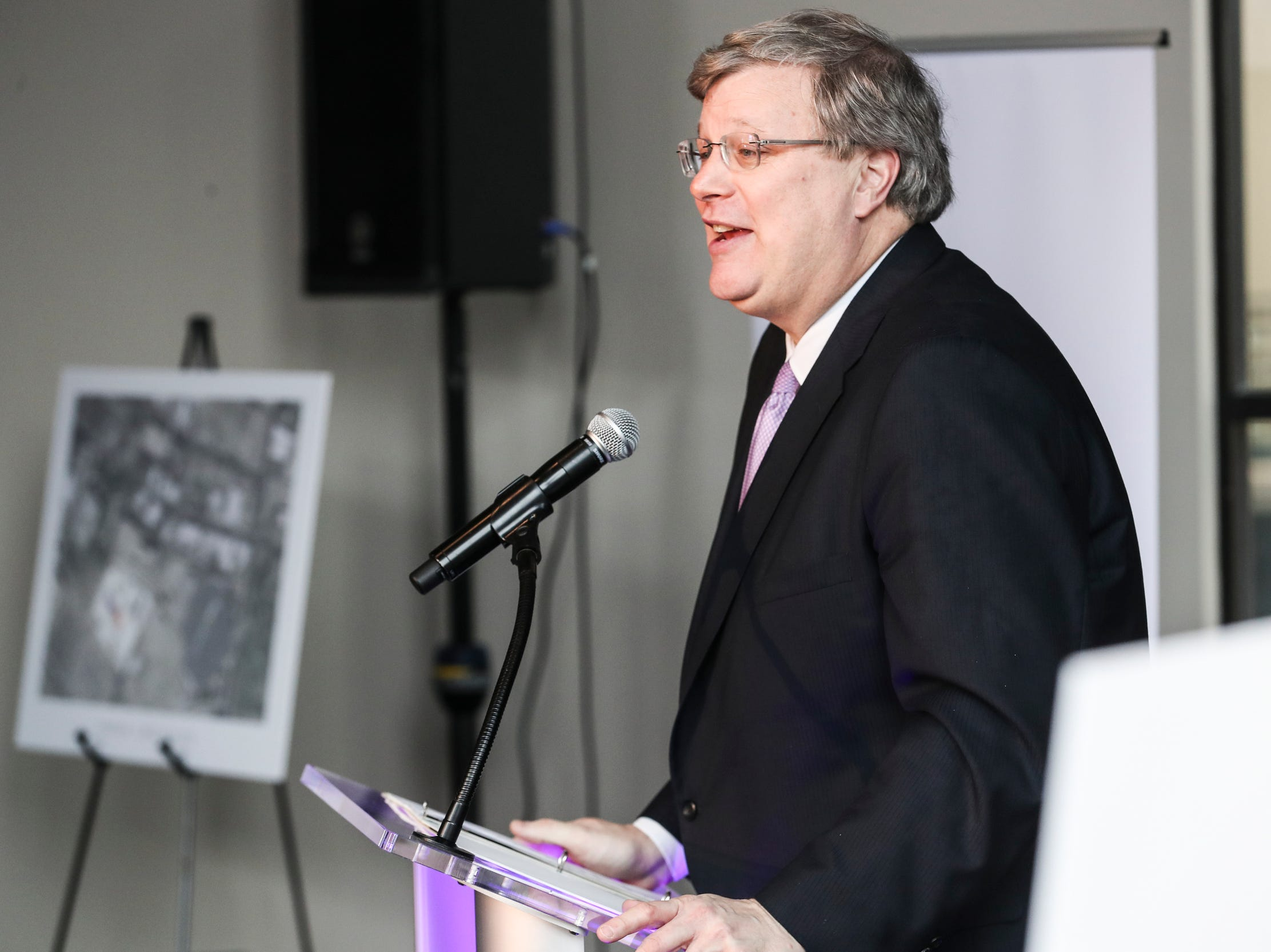 February 12, 2019 - Memphis Mayor Jim Strickland speaks during the announcement that FedEx Logistics is relocating to the Gibson Guitar Building. Gov. Bill Lee and local officials made the announcement Tuesday at the former guitar factory off Beale Street. This is Lee's first economic development announcement since taking office.
