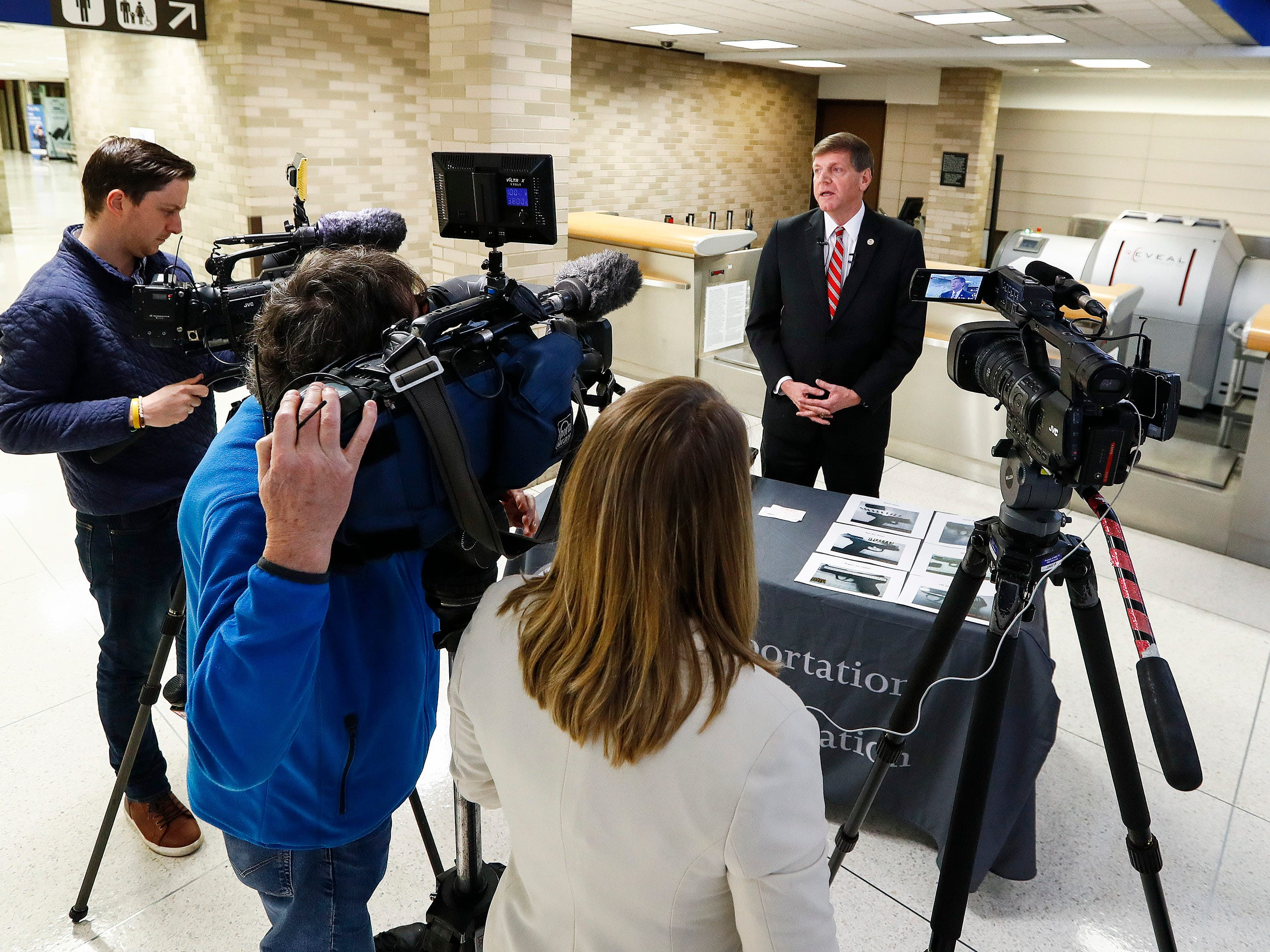 Kevin McCarthy, Assistant Federal Director of the Memphis International Airport, speaks the media about gun safety at the airport.