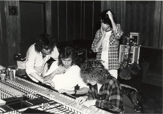 Engineer Joe Hardy (middle), working with The Replacements at Ardent Studios in 1986.