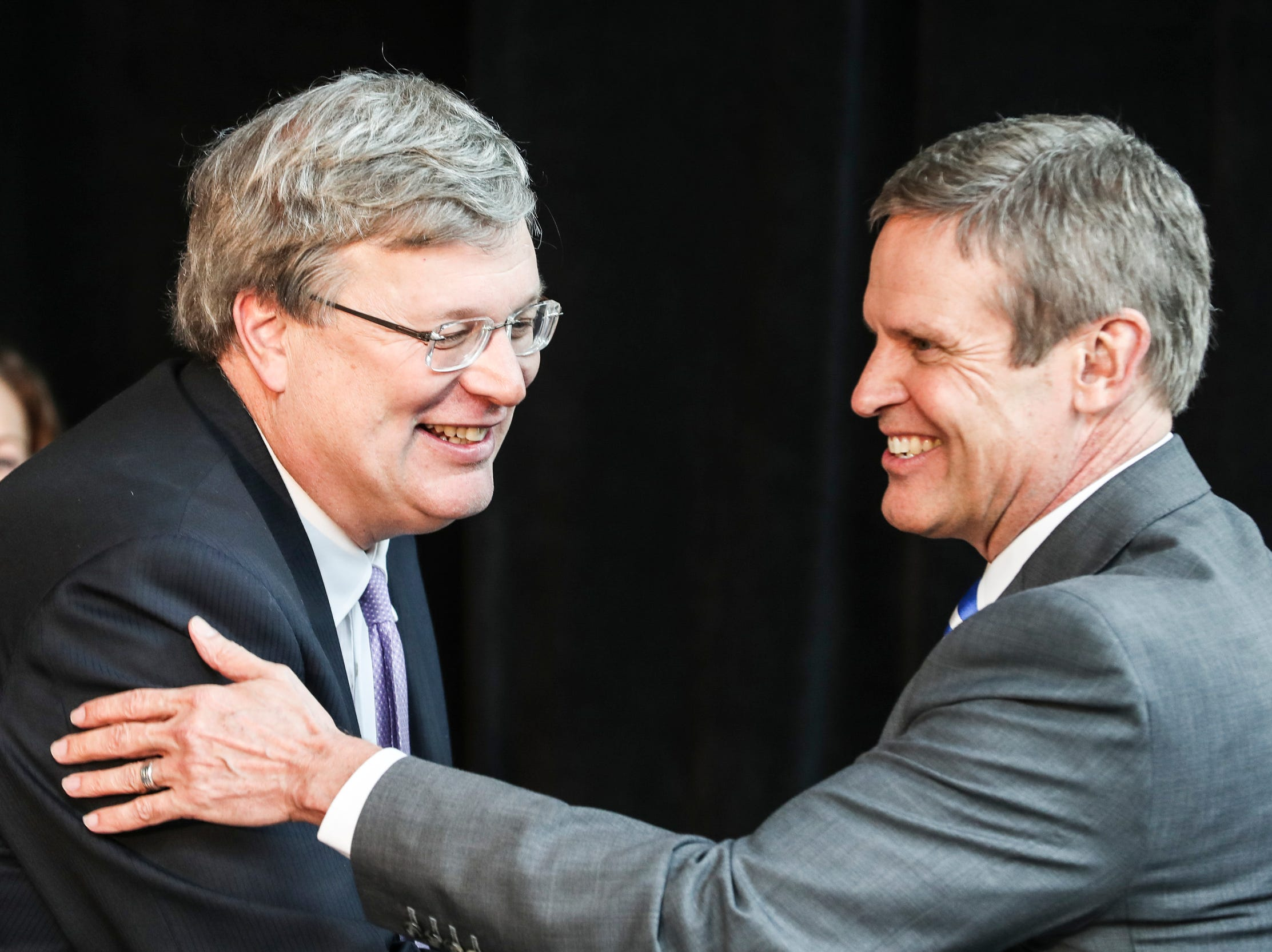 February 12, 2019 - Memphis Mayor Jim Strickland and Gov. Bill Lee are seen during the announcement that FedEx Logistics is relocating to the Gibson Guitar Building. This is Lee's first economic development announcement since taking office.
