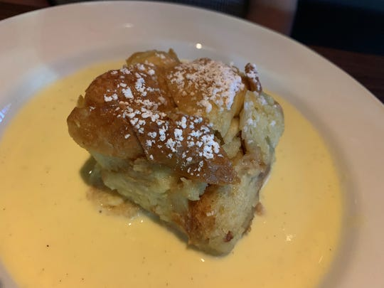 The bread pudding with crème anglaise from Yard House, Naples.