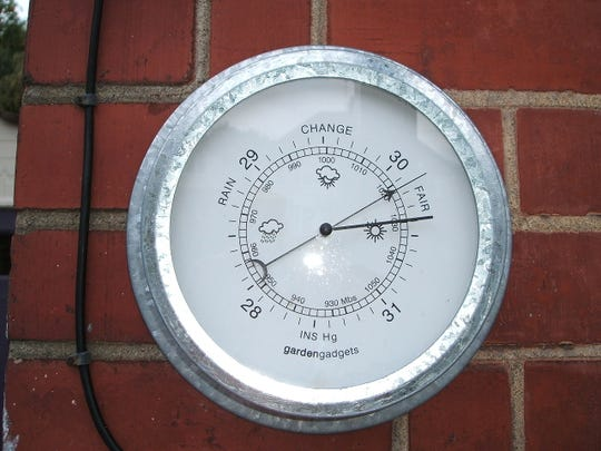 A barometer measures atmospheric pressure.