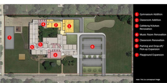 An image provided by the St. Francis School District shows what would be included in a $7.25 million proposal to renovate Willow Glen Primary School to house all the district's K-8 students.