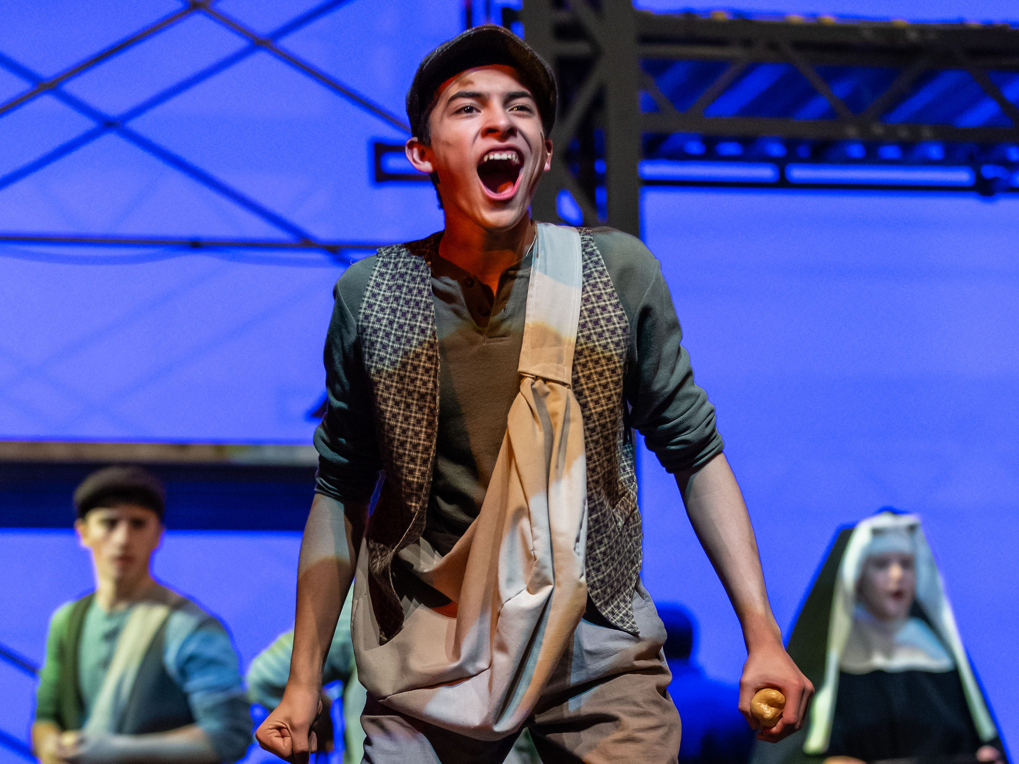 Dominican High School drama student Noel Rubalcava performs a scene from Disney's NEWSIES during dress rehearsal on Monday, Feb. 11, 2019. Public performances are Feb. 15-24, Thursday through Saturday at 7 p.m. and Sunday at 2 p.m. Visit www.dominicanhighschool.com for info and tickets.