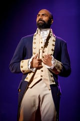 "Nik Walker plays Aaron Burr in the national performing company of ""Hamilton."""