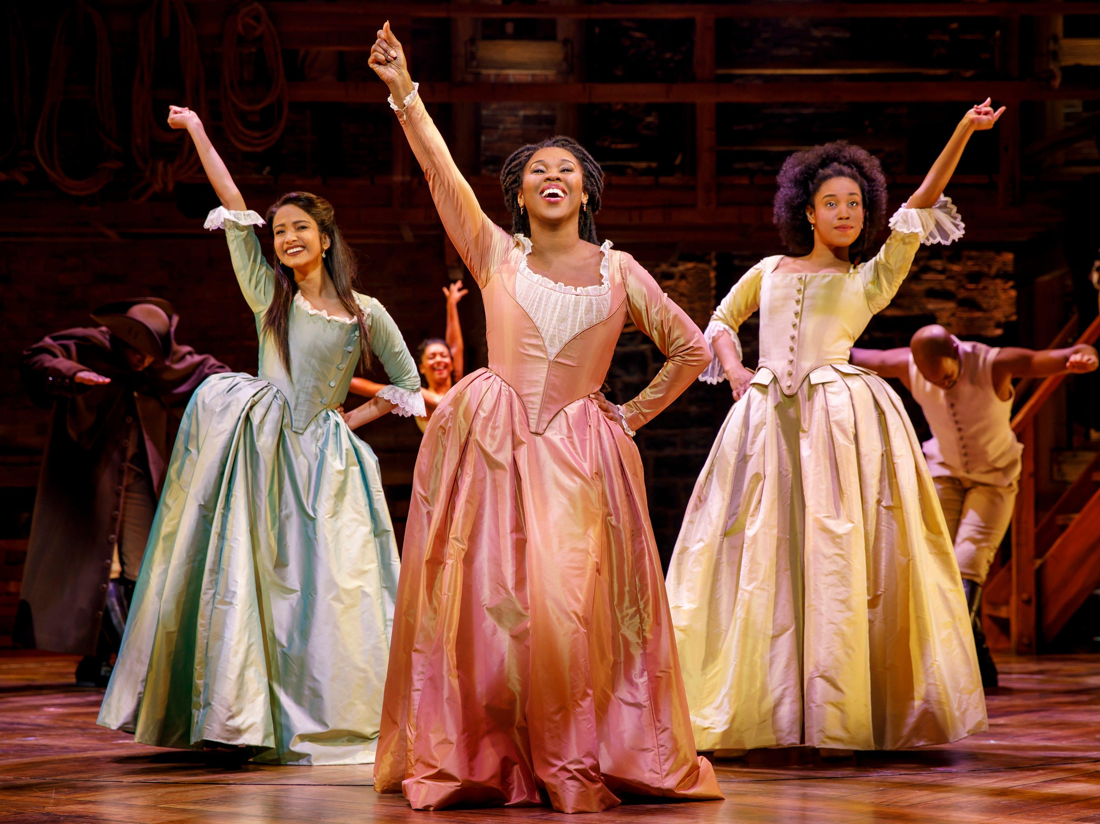 "Shoba Narayan, TaRea Campbell and Nyla Sostre perform in ""Hamilton."""