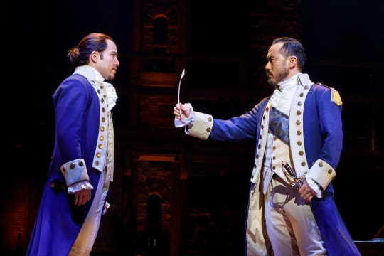 "Joseph Morales and Marcus Choi perform in the national touring company of ""Hamilton."""