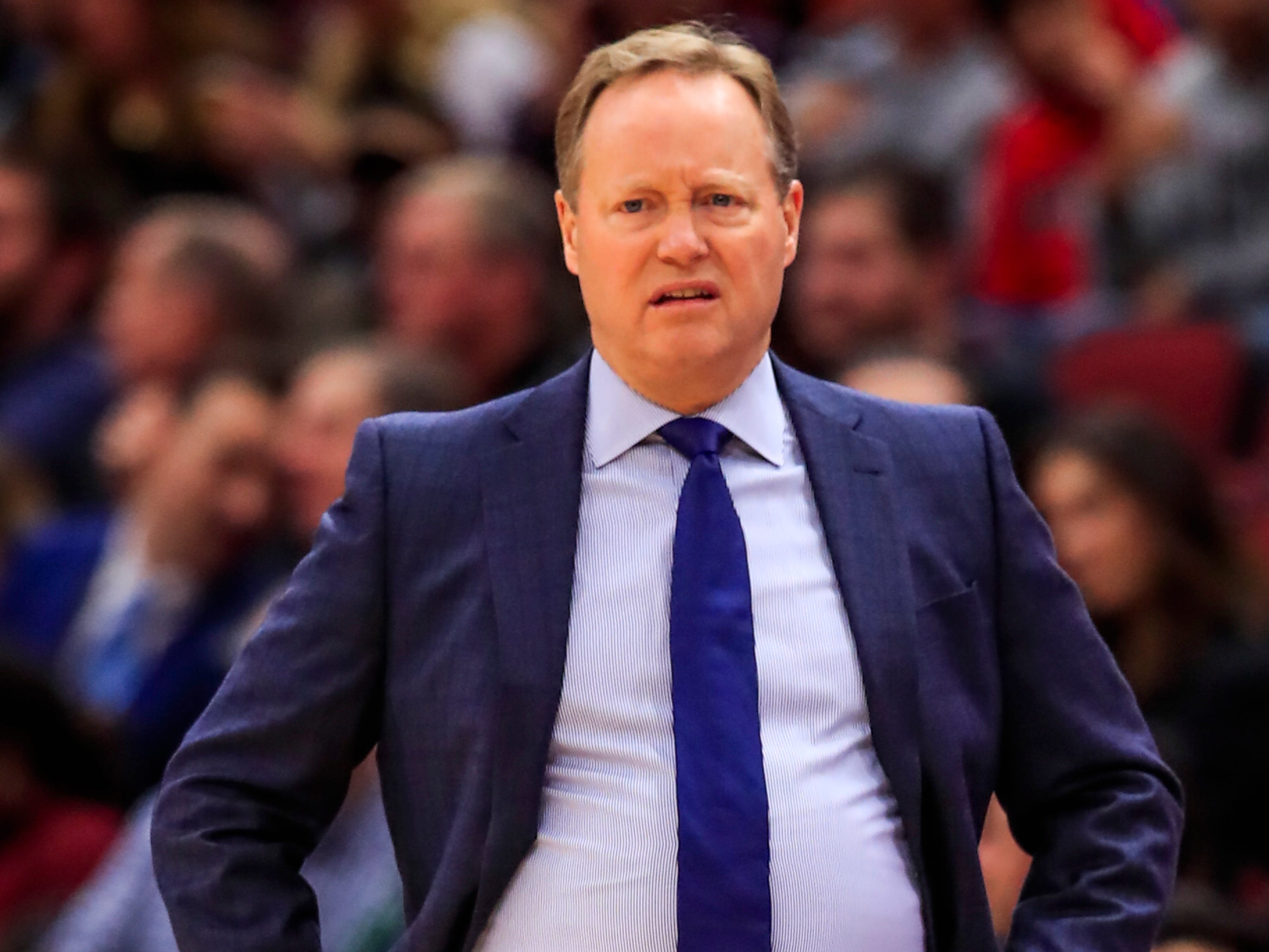 Bucks head coach Mike Budenholzer watches his team take on the Bulls in Chicago with an uneasy look on his face Monday night.