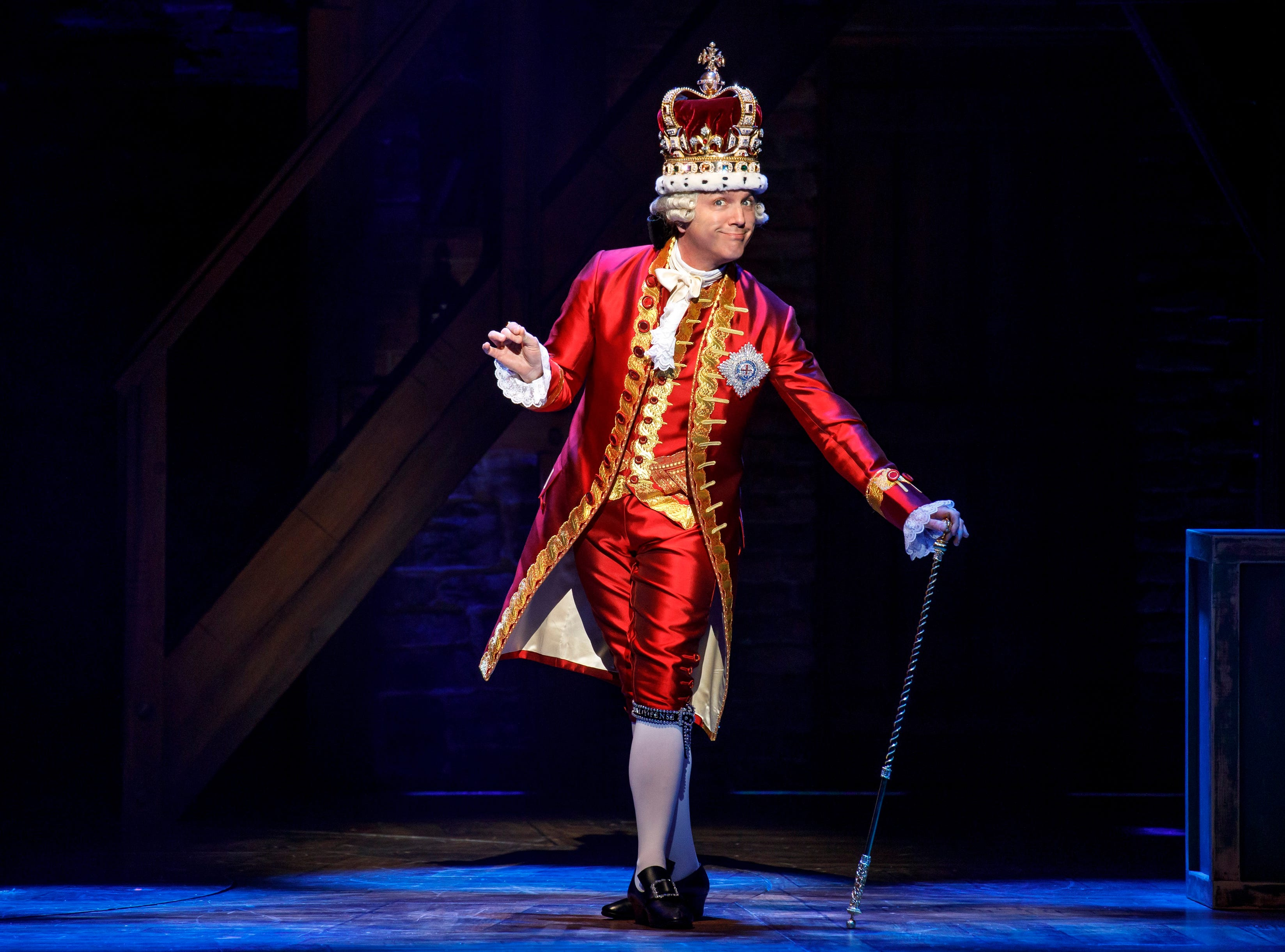 """Jon Patrick Walker plays King George in the national touring company of """"Hamilton."""""""