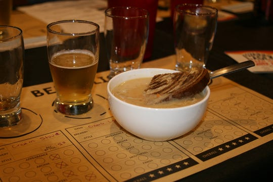 The second course for the Brew Belles Beer Club Women consisted of a Bratwurst soup featuring Ozark Lager made by the Ozark Beer Co., of Rogers. The soup had a potato base with carrots, sauerkraut and a dash of sour cream and served with a lightly toasted piece of marble rye bread.