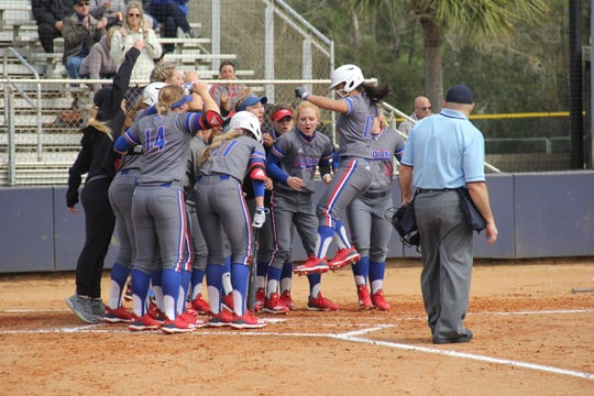 Louisiana Tech junior Kimmie Atienza crosses home plate after homering in the Lady Techsters 5-4 win over Tennessee State Friday at the Sand Dollar Classic in Gulf Shores, Alabama.
