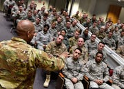 Air University Command Chief, U.S. Air Force Chief Master Sgt. Todd M. Simmons speaks with more than 100 Airmen enrolled in Airman Leadership School Class 19-4, February 11, 2019, at the Air National Guard's training and education center in East Tennessee. Additionally, Chief Simmons and Lt. Gen. Anthony Cotton, AU commander and president, spoke with students enrolled in Noncommissioned Officer Academy. Both classes graduate tomorrow.