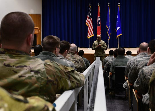 U.S. Air Force Lt. Gen. Anthony Cotton, commander and president of Air University, speaks with more than 100 Airmen enrolled in Airman Leadership School Class 19-4, February 11, 2019, at the Air National Guard's training and education center in East Tennessee.