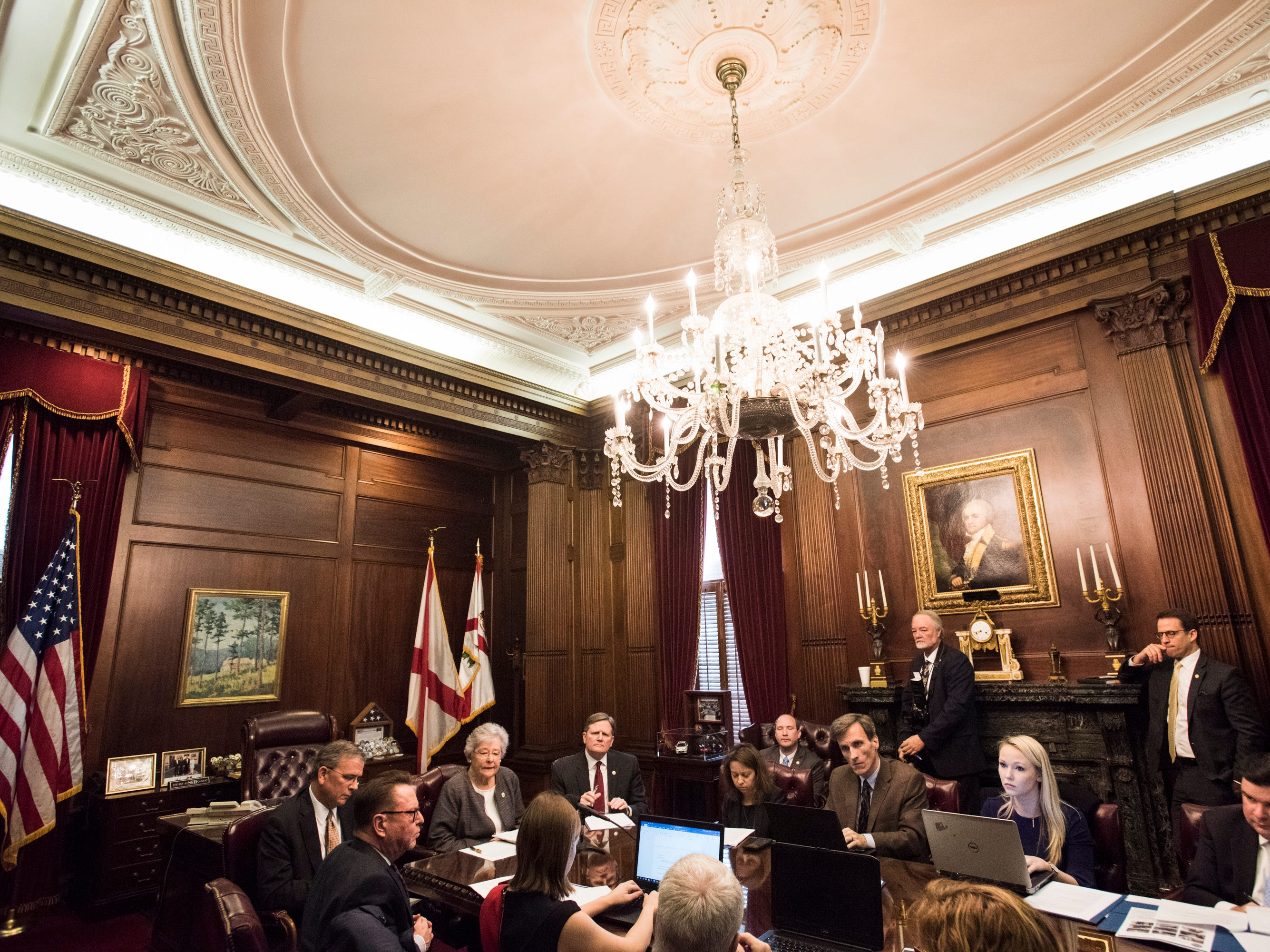 Gov. Kay Ivey takes questions during a press conference in the Governor's office at the Alabama State Capitol in Montgomery, Ala., on Tuesday, Feb. 12, 2019.