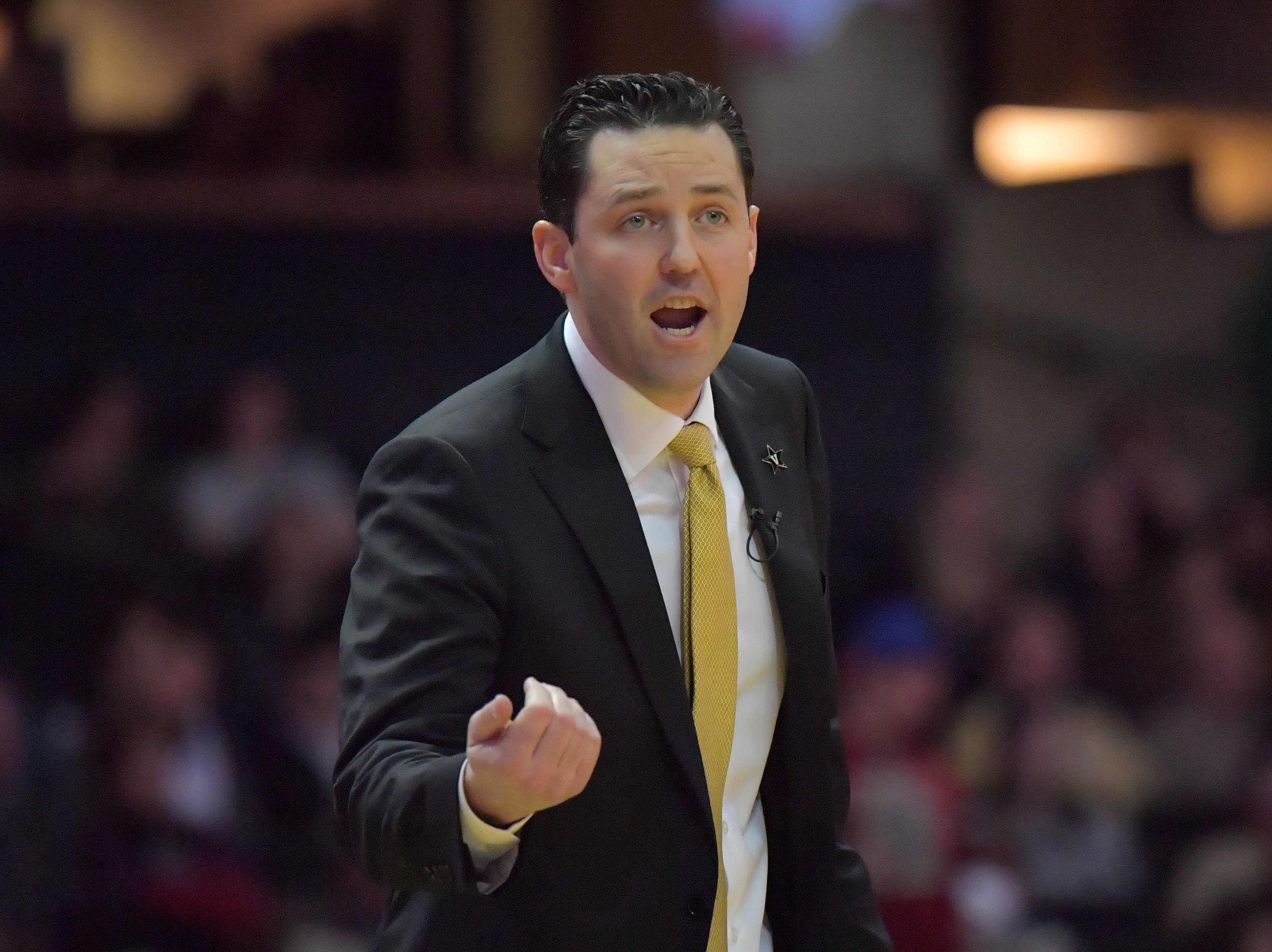 Feb 9, 2019; Nashville, TN, USA; Vanderbilt Commodores head coach Bryce Drew during the first half against the Alabama Crimson Tide at Memorial Gymnasium. Mandatory Credit: Jim Brown-USA TODAY Sports