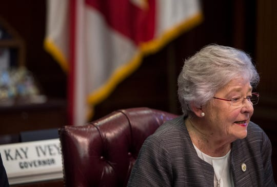 Gov. Kay Ivey speaks during a press conference in the Governor's office at the Alabama State Capitol in Montgomery, Ala., on Tuesday, Feb. 12, 2019.