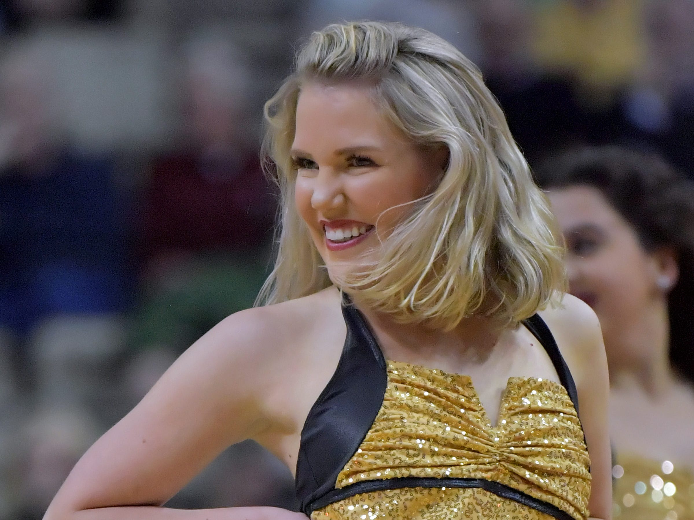 Feb 9, 2019; Nashville, TN, USA; Vanderbilt Commodores dance team member performs during the second half against the Alabama Crimson Tide at Memorial Gymnasium. Alabama won 77-67. Mandatory Credit: Jim Brown-USA TODAY Sports