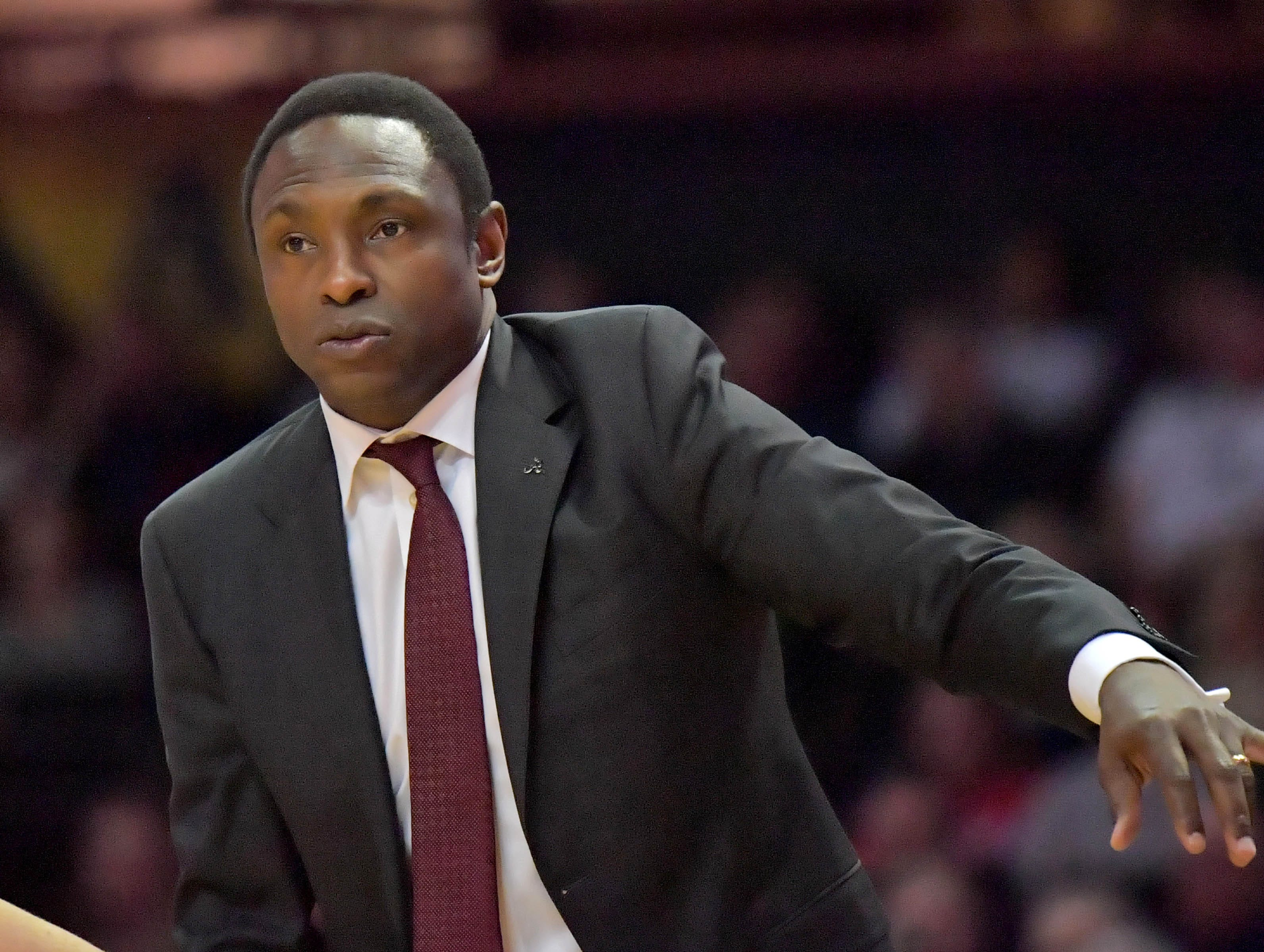 Feb 9, 2019; Nashville, TN, USA; Alabama Crimson Tide head coach Avery Johnson during the second half against the Vanderbilt Commodores at Memorial Gymnasium. Alabama won 77-67. Mandatory Credit: Jim Brown-USA TODAY Sports