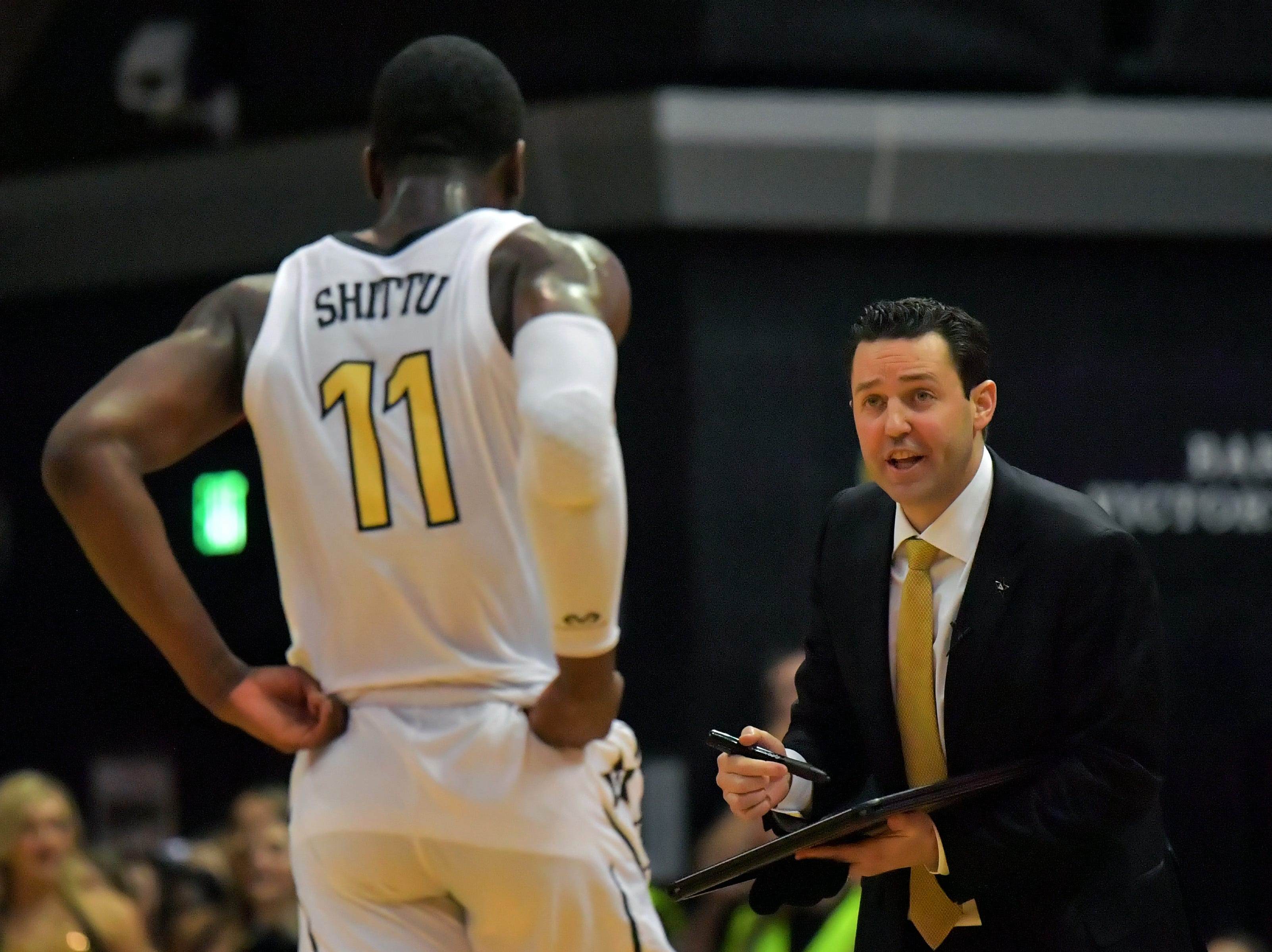 Feb 9, 2019; Nashville, TN, USA; Vanderbilt Commodores head coach Bryce Drew talks with Vanderbilt forward Simisola Shittu (11) during the second half against the Alabama Crimson Tide at Memorial Gymnasium. Alabama won 77-67. Mandatory Credit: Jim Brown-USA TODAY Sports