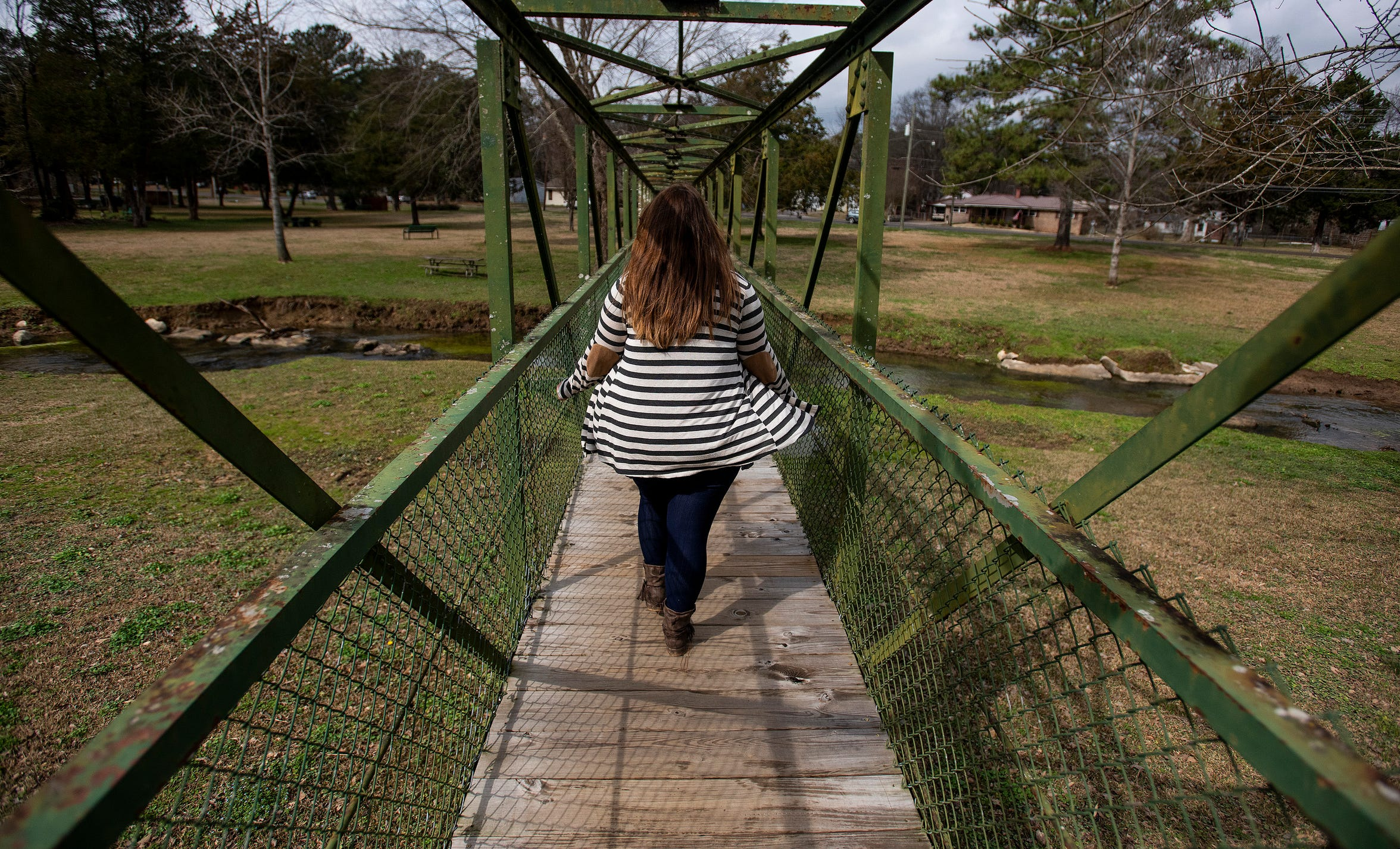 A human trafficking victim is shown near her home in Alabama on Wednesday February 6, 2019.